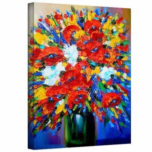 Happy Floral Painting Print on Canvas by Andover Mills