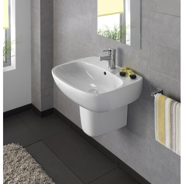 Moda Ceramic 24 Wall Mount Bathroom Sink with Overflow by Bissonnet