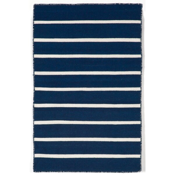 Ranier Pinstripe Hand-Woven Navy Indoor/Outdoor Area Rug by Beachcrest Home