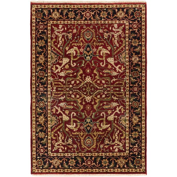 Doerr Hand-Knotted Dark Red Area Rug by Isabelline