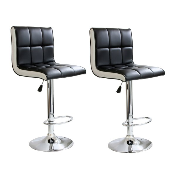 Giannone Adjustable Height Swivel Bar Stool (Set of 2) by Orren Ellis