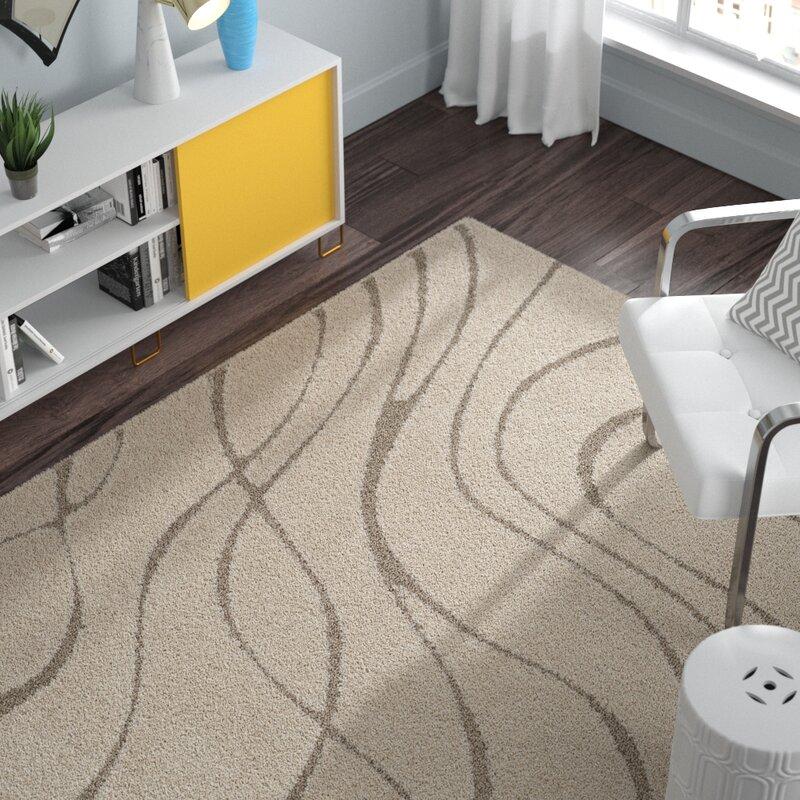Modern Short Pile Living Room Rug Abstract Dots Stripes Design In Beige