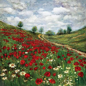 'Red Poppy Vista' Framed Painting Print on Wrapped Canvas by Lark Manor