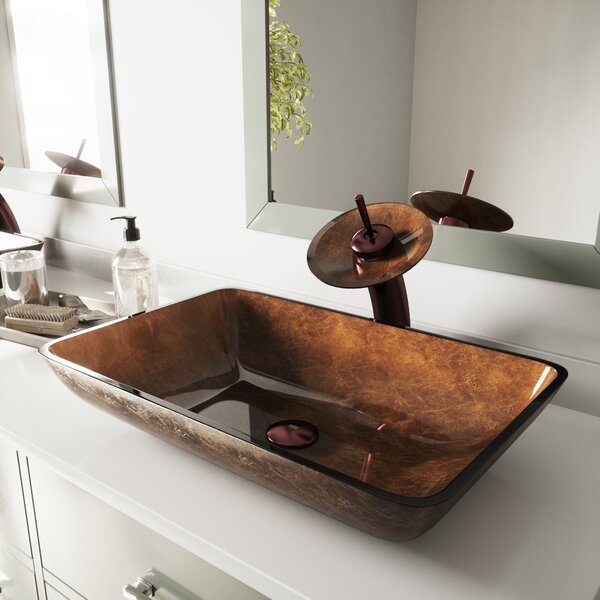 Tempered Glass Rectangular Vessel Bathroom Sink by
