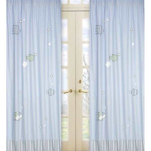 Go Fish Nautical Semi-Sheer Rod Pocket Curtain Panels (Set of 2) by Sweet Jojo Designs