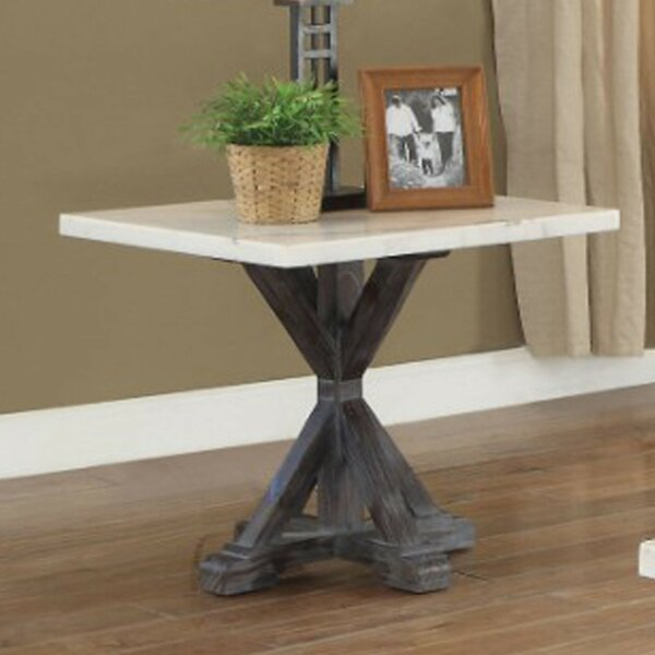 Sandstone Marble Top Wooden Tripod Base End Table by Gracie Oaks