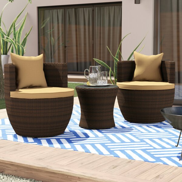 Ethan 3 Piece Seating Group with Cushions by Wade Logan