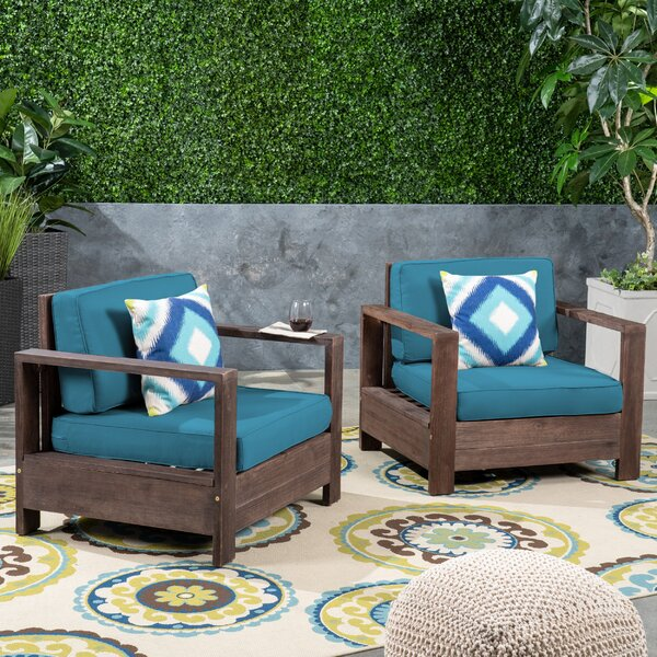 Landis Patio Chair with Cushions (Set of 2) by Rosecliff Heights Rosecliff Heights