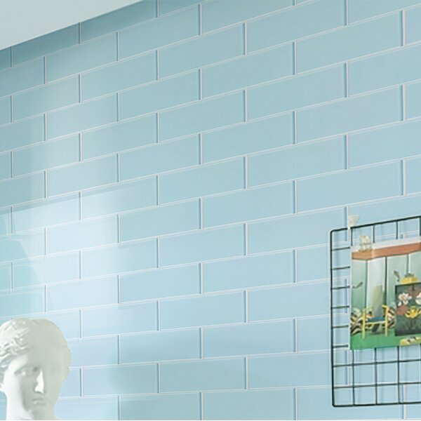Premium Series 4 x 12 Glass Subway Tile in Glossy Baby Blue by WS Tiles