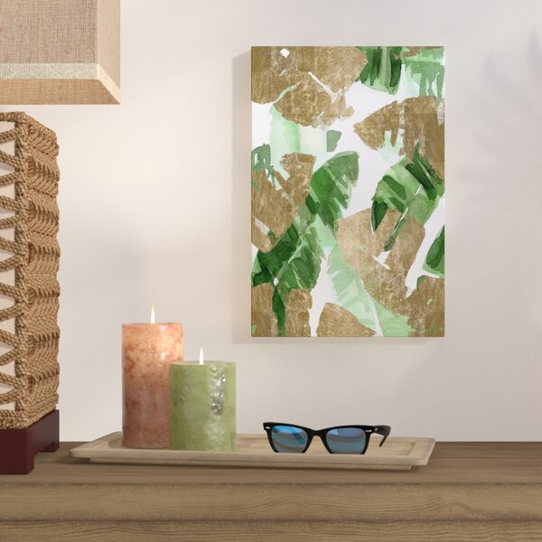 Tropical Leaves Gold Graphic Art on Wrapped Canvas by Bay Isle Home