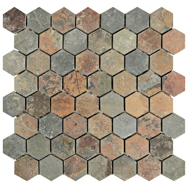 Peak 1.38 x 1.38 Natural Stone Mosaic Tile in Brown/Gray by EliteTile