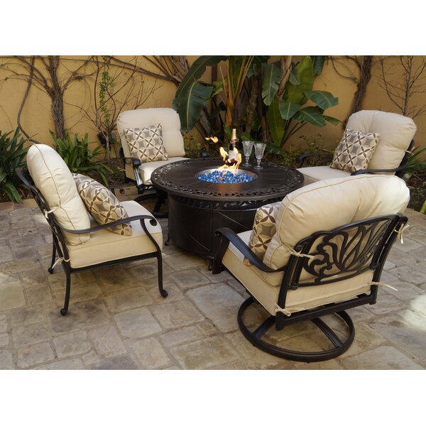 Buller 5 Piece Fire Pit Chat Multiple Chairs Seating Group with Cushions by Canora Grey