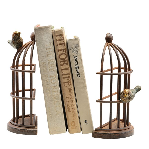 Bird Cage Book Ends (Set of 2) by SPI Home