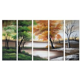 Four Seasons on a Cloudy Day 5 Piece Painting on Canvas Set By Design Art