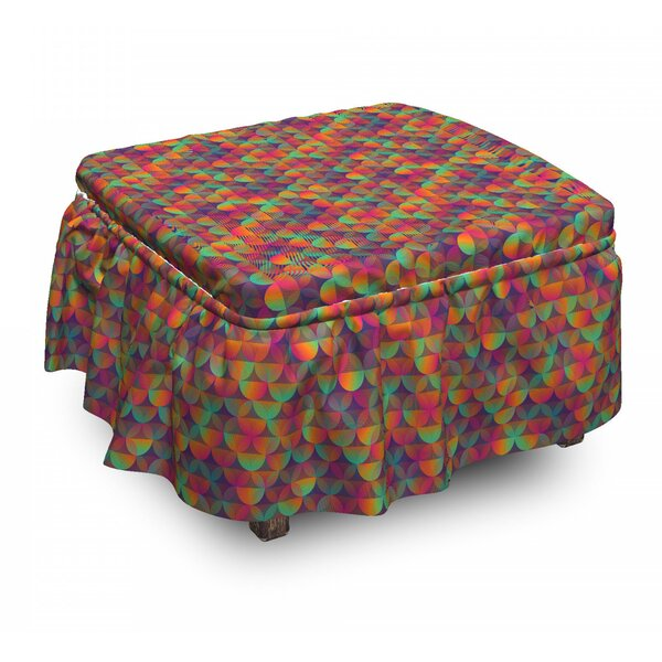 Rainbow Scale Feel Ottoman Slipcover (Set Of 2) By East Urban Home