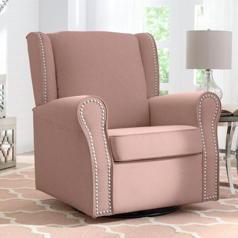 Old Fashioned Swivel Glider Chairs Living Room Vignette - Living ...