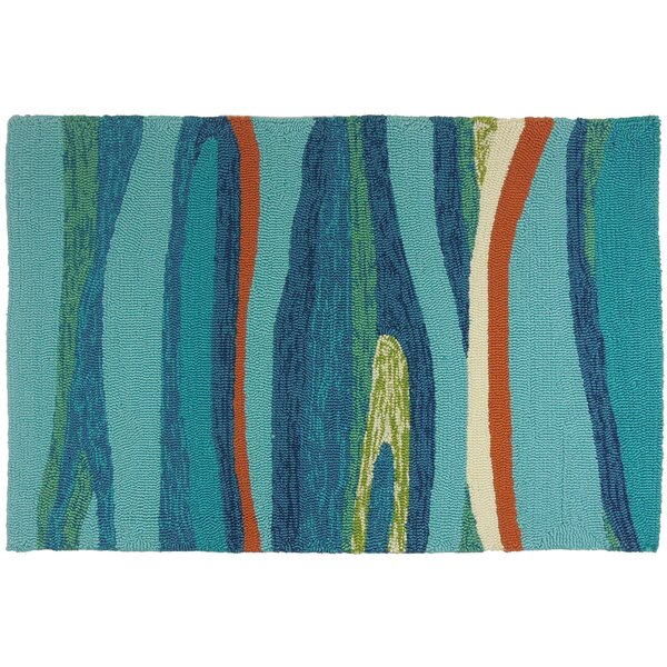 Ocean Waves Handmade Blue Indoor/Outdoor Area Rug by Homefires