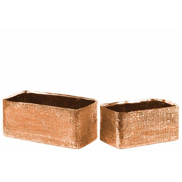 Crisler Electroplated Rectangular 2-Piece Ceramic Pot Planter Set by World Menagerie