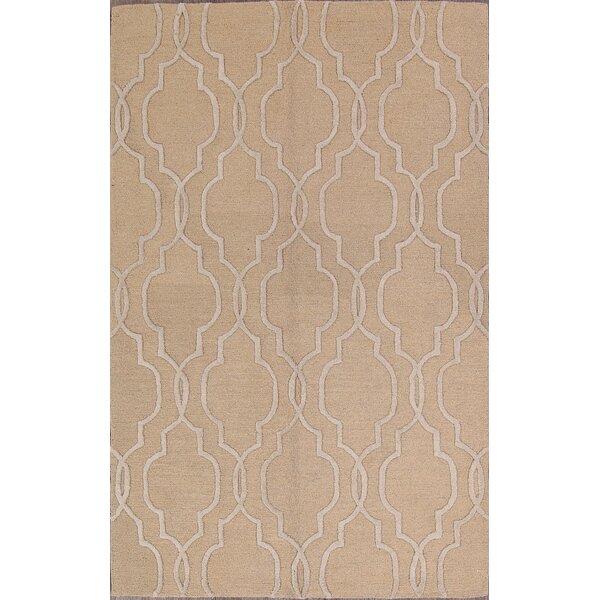 Kaden Moroccan Classical Trellis Oriental Hand-Tufted Wool Beige/Ivory Area Rug by Alcott Hill