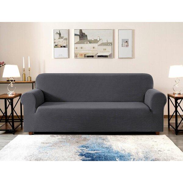 Jacquard Box Cushion Loveseat Slipcover By Red Barrel Studio
