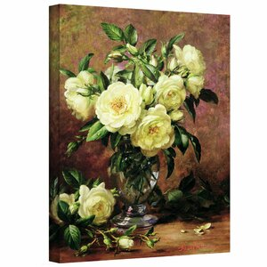 White Roses, a Gift from the Heart by Albert Williams Painting Print on Wrapped Canvas by ArtWall