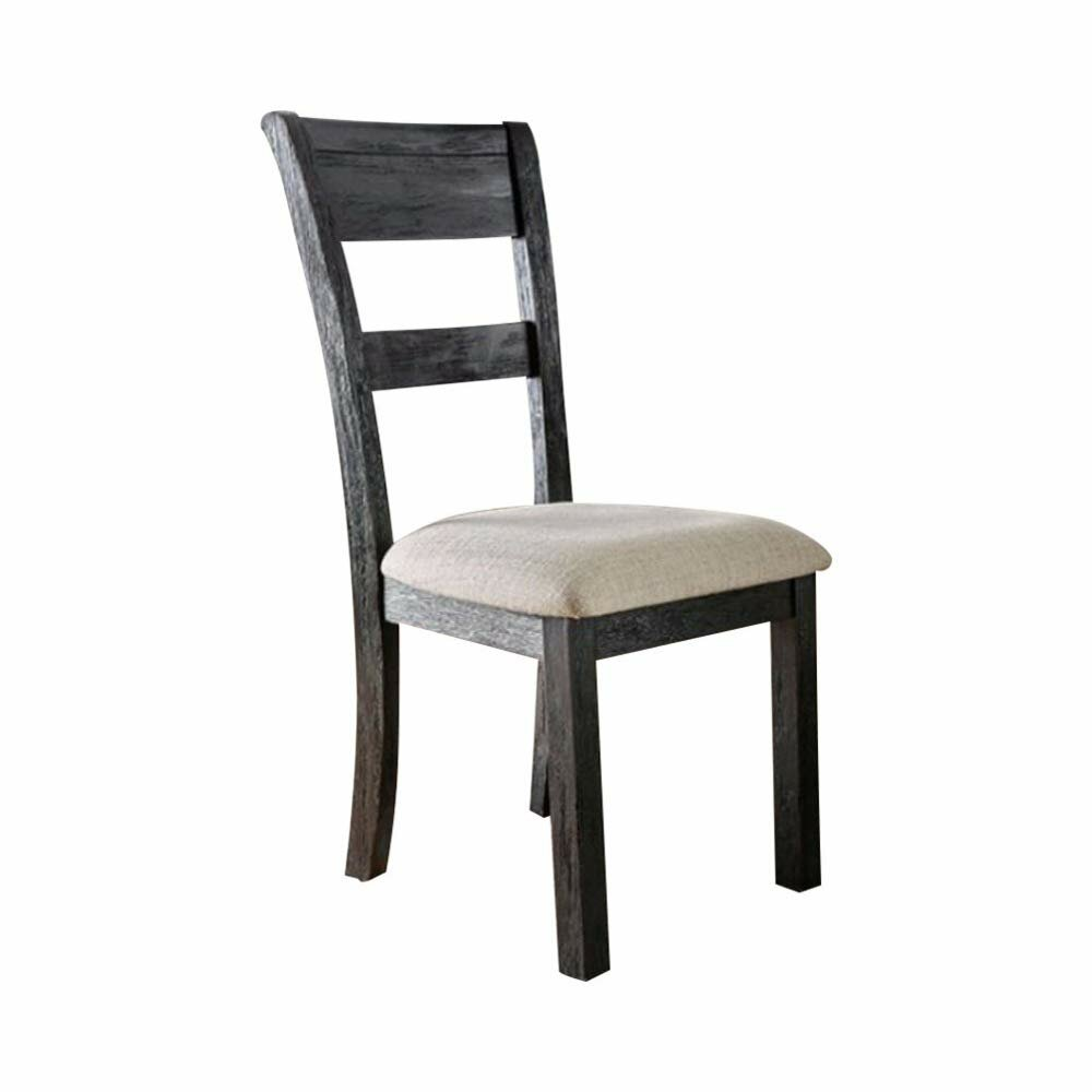 Gracie Oaks Baney Upholstered Ladder Back Side Chair In Wire Brushed Black Wayfair