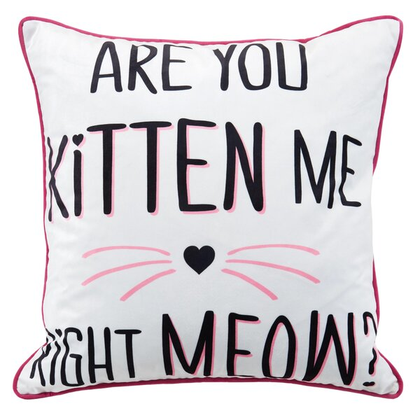 You Kitten Metallic Throw Pillow by Nicole Miller