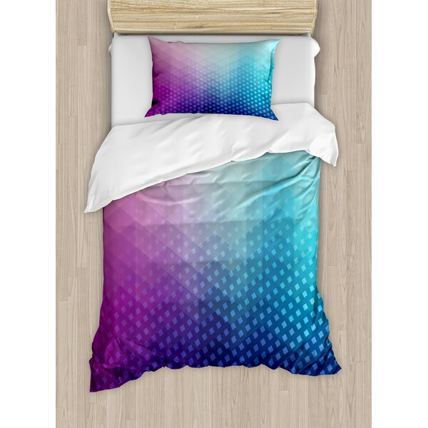 Gradient Background with Little Geometric Fractal Triangle Figures Graphic Duvet Set by East Urban Home