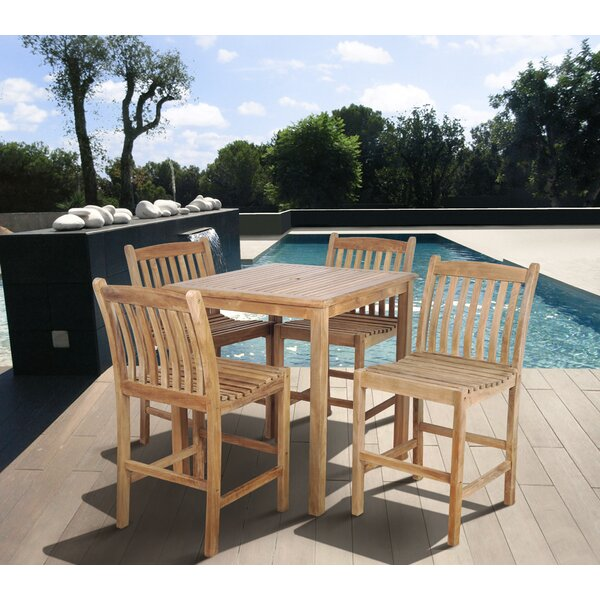 Meranda 5 Piece Teak Bar Height Dining Set by Loon Peak