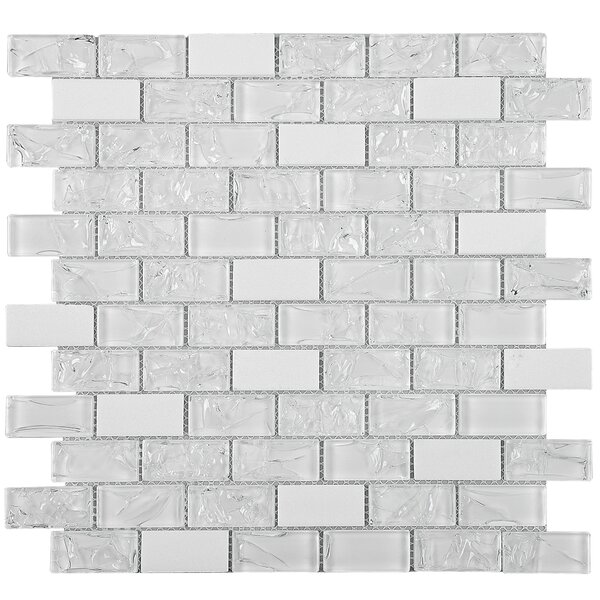 Crushed 1 x 2 Mixed Material Tile in White by Multile