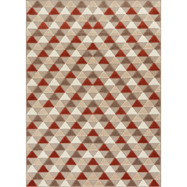 Dorado Dream Modern Geometric Triangles High-Low Beige Indoor/Outdoor Area Rug by Well Woven