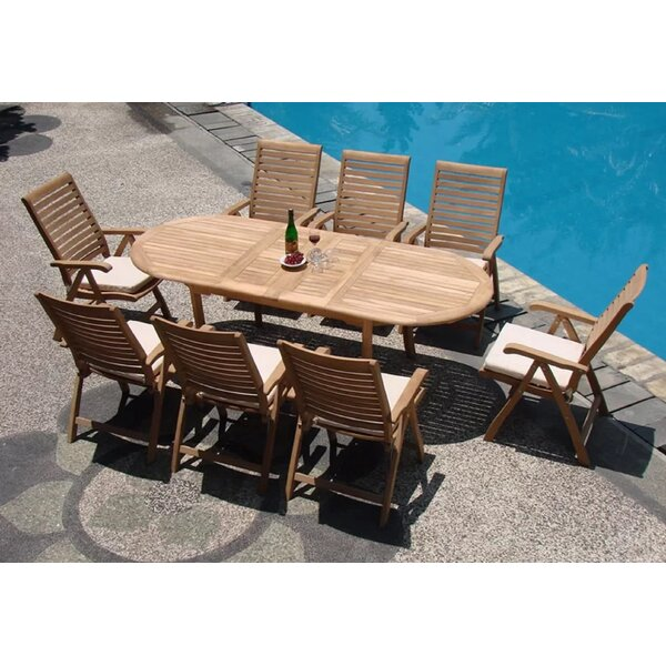 Nikhil Luxurious 9 Piece Teak Dining Set by Rosecliff Heights