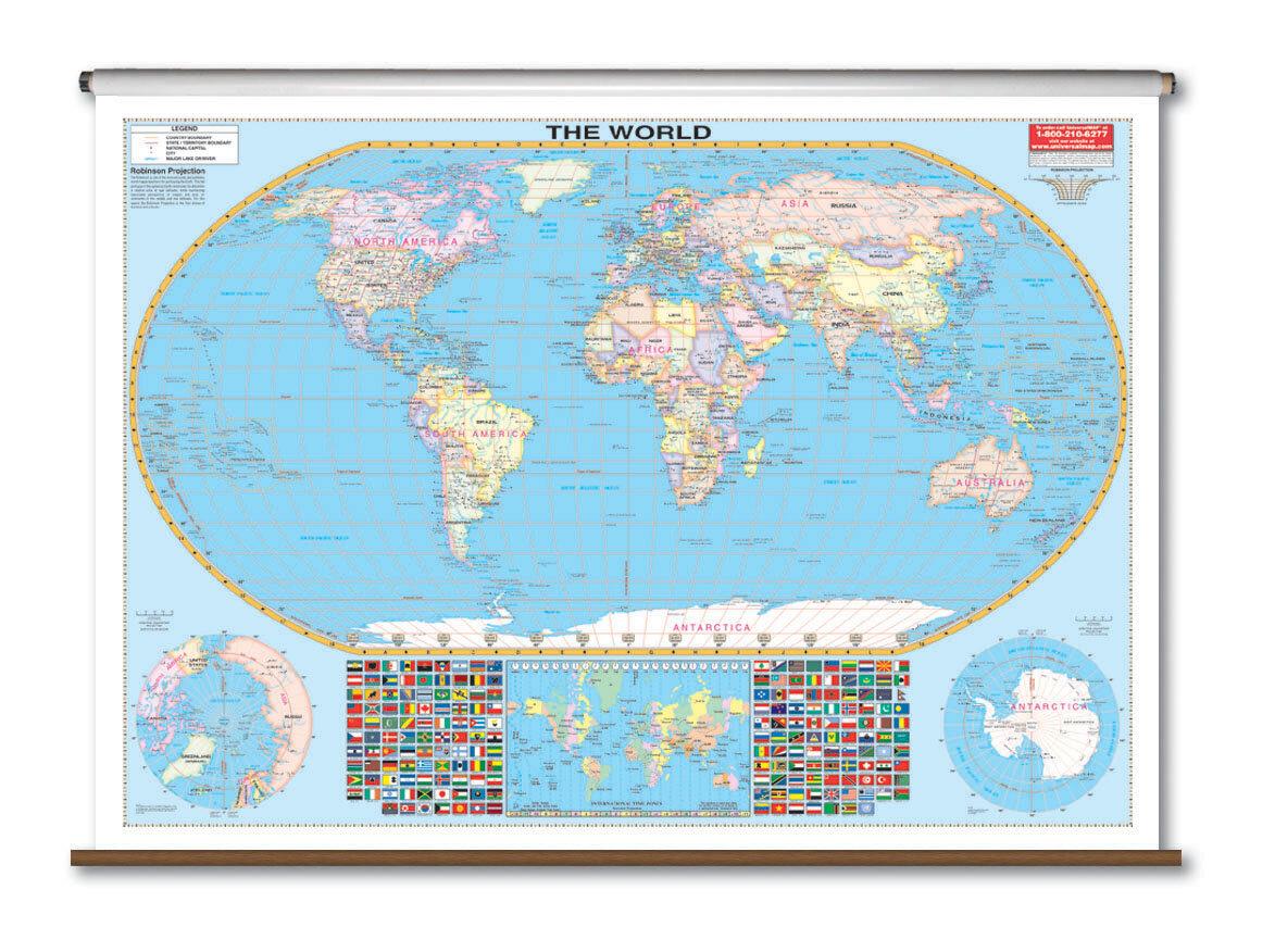 Universal Map Large Scale Wall Map - World   Wayfair