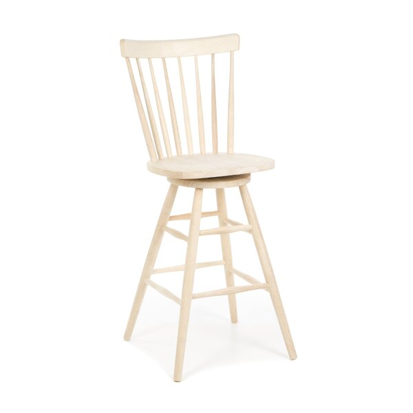 Toby 30 Swivel Wood Bar Stool by August Grove