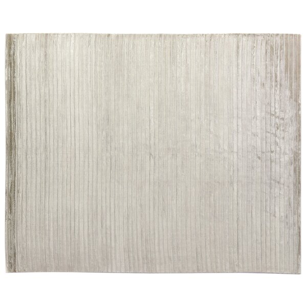 High Low Wave Light Hand-Woven Cotton Light Silver Area Rug by Exquisite Rugs