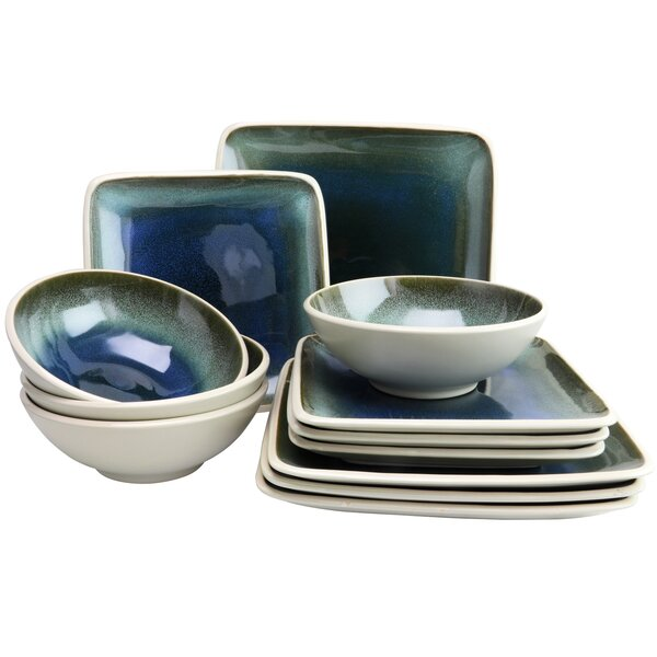Roper Square 12 Piece Dinnerware Set, Service for 4 by World Menagerie