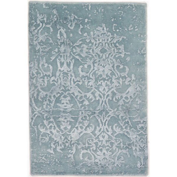 One-of-a-Kind Hand-Knotted Silk Blue Area Rug by Pasargad NY