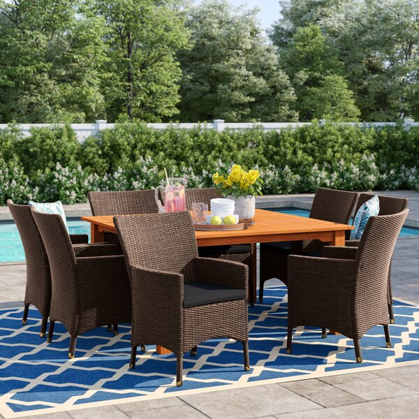 Brighton 9 Piece Dining Set with Cushions by Sol 72 Outdoor