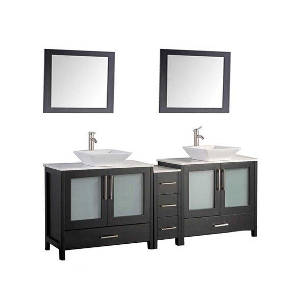 Powley 60 Double Sink Bathroom Vanity Set with Mirror by Orren Ellis