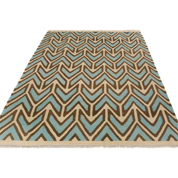 One-of-a-Kind Bakerstown Kilim Hand-Woven Ivory/Blue Area Rug by Bloomsbury Market