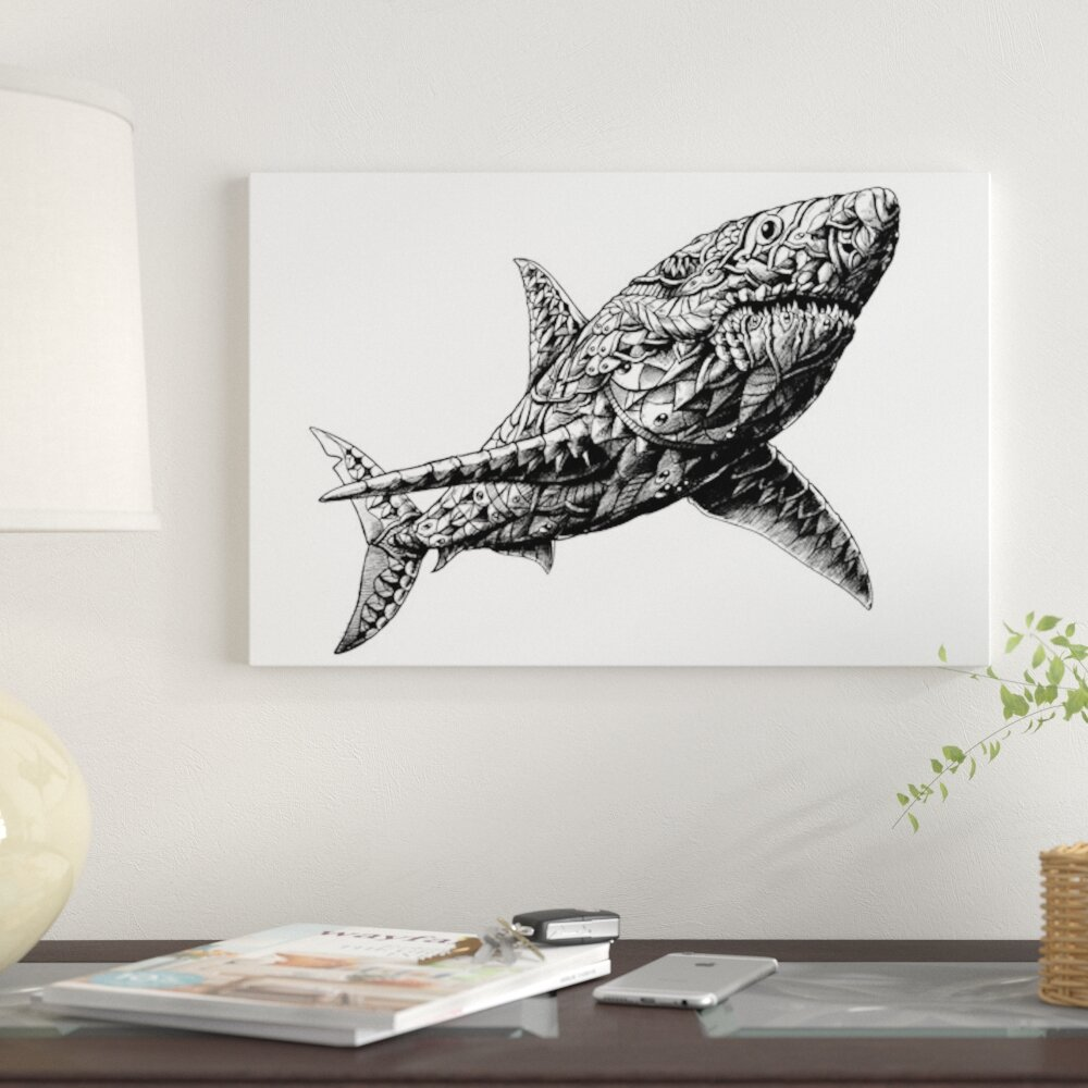 East Urban Home 'Great White Shark' Graphic Art Print on Canvas | Wayfair