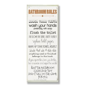 'Bathroom Rules Skinny' Rectangle Typography Wall Plaque by Andover Mills