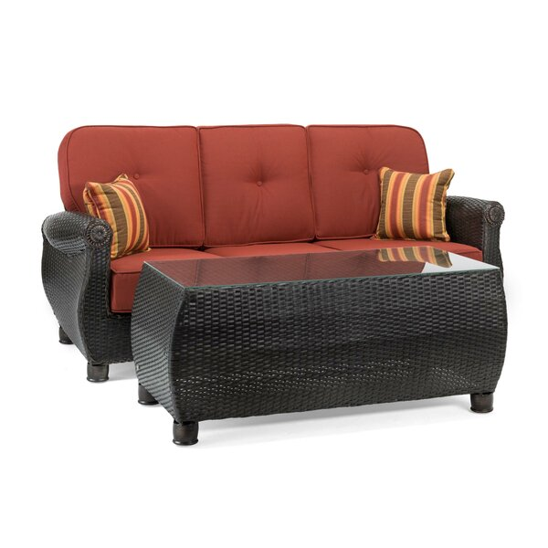Breckenridge 2 Piece Rattan Sunbrella Sofa Seating Group with Cushions by La-Z-Boy