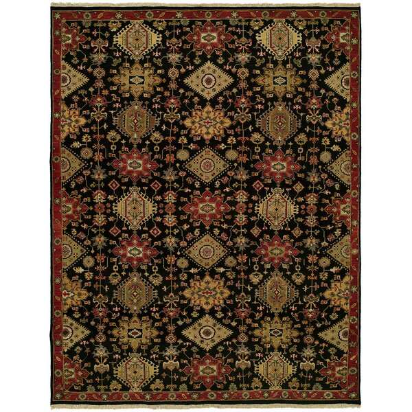 Gustel Wool Black Area Rug by Bloomsbury Market