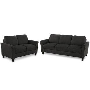 Living Room Furniture Loveseat Sofa And 3-Seat Sofa (Black)(2+3) by Red Barrel Studio®