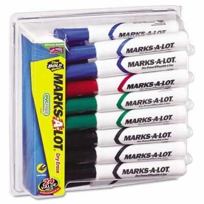 Marks-A-Lot Desk Style Dry Erase Markers, Chisel Tip, 24/Pack by Avery Consumer Products