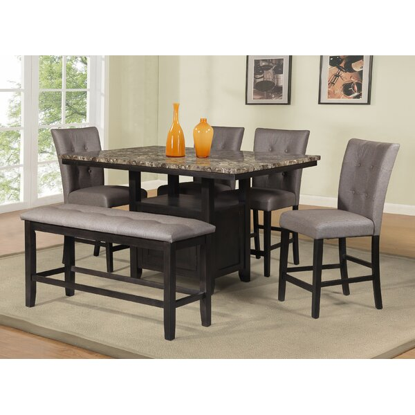 Counter Height 6 Piece Dining Set by Best Quality Furniture