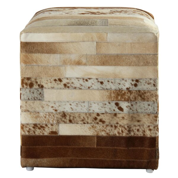 Glacier Leather Cube Ottoman by Loon Peak