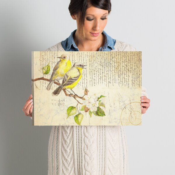 Saint-Priest Perched Birds on French Script Print on Canvas by Lark Manor