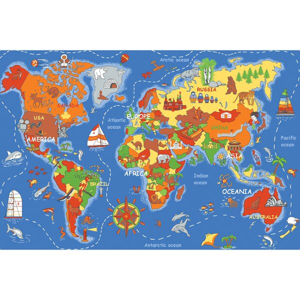 Play Carpet Where In The World Blue Indoor/OutdoorArea Rug by Learning Carpets